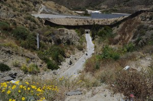 Storm drain carrying rainwater, trash, pollution and sediment from Los Laureles Canyon northward into the Tijuana Estuary