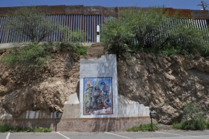 Boundary Monument 122 and mural in Nogales, Sonora, one half block from the spot José Antonio was shot and killed by a border patrol agent.