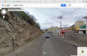 Google Maps street view of the site. Border wall high up on the cliff on left side of photo.
